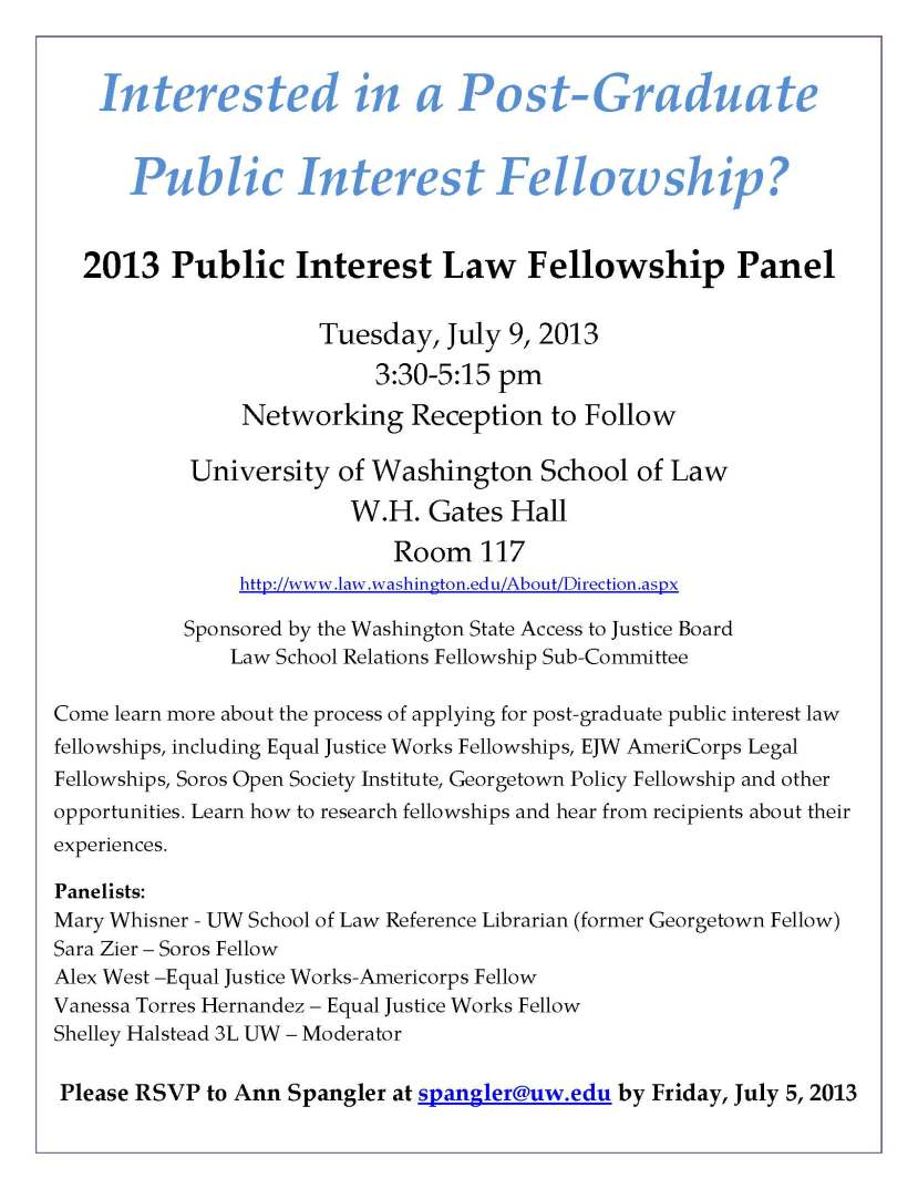 2013 Public Interest Post Grad Fellowship Panel at UW
