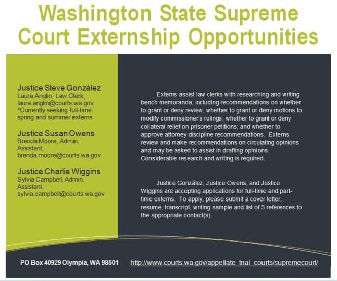WA supreme ct externship