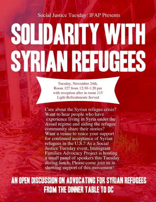Solidarity with Syrian Refugees Event Flyer